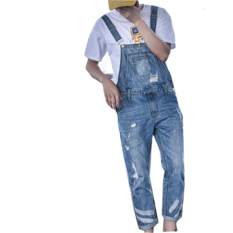 Harajuku Big Boy Slim Fit Hole Overalls One Piece Mens Ripped Cargo Jeans Retro Washed Denim <font><b>Jumpsuits</b></font> Pockets <font><b>Hombre</b></font> Trousers image