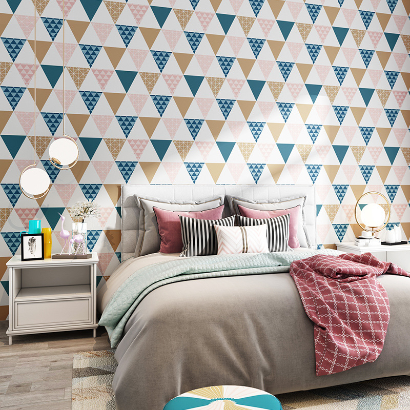 Nordic Triangle Wall Paper Roll Geometric Wallpapers For Background Walls Living Room Bedroom Wall Decoration Contact Paper