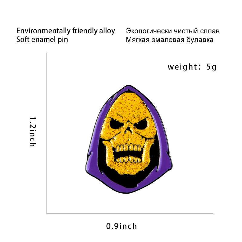 Ungu Hood Tengkorak Enamel Pin Master Alam Semesta Lencana Kartun Kuning Wajah Kerah Pin Bros Halloween Perhiasan Hadiah untuk Teman