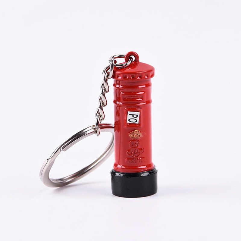 לונדון אדום & כחול אוטובוס מפתח ארגונית דואר תיבת מפתח מחזיק מפתח תליון Keychain מזכרות מתנות לגברים מפתח שרשרת מפתח טבעת
