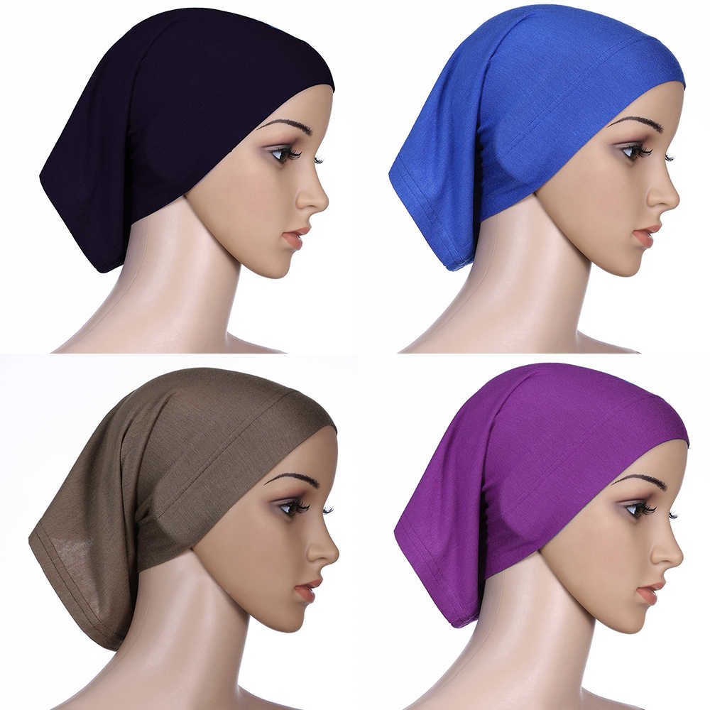 2020 yeni İslam müslüman kadın başörtüsü pamuk Underscarf hicap kapak Headwrap kaput