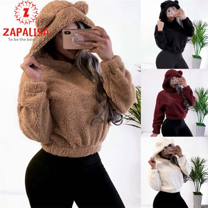 Fashion Plush Sexy Short Tops Casual Long Sleeve Lovly Hooded Patchwork Streetwear Solid Color Autumn Winter Women Loose Hoodies