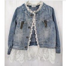 LOVE DD& MM/куртки для девочек; осенняя одежда для детей; детская джинсовая куртка принцессы с эффектом потертости; детская верхняя одежда с кружевом; пальто