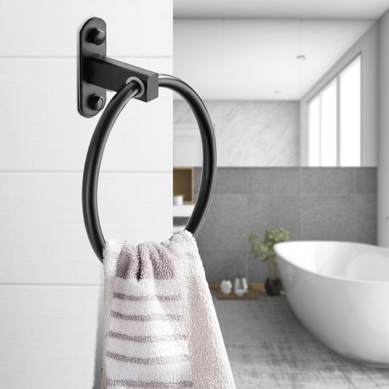 Aluminum Alloy Matte Black Towel Ring Round Clothes Bracket Holder Wall-mount Bathroom Supporter Hardware Accessories