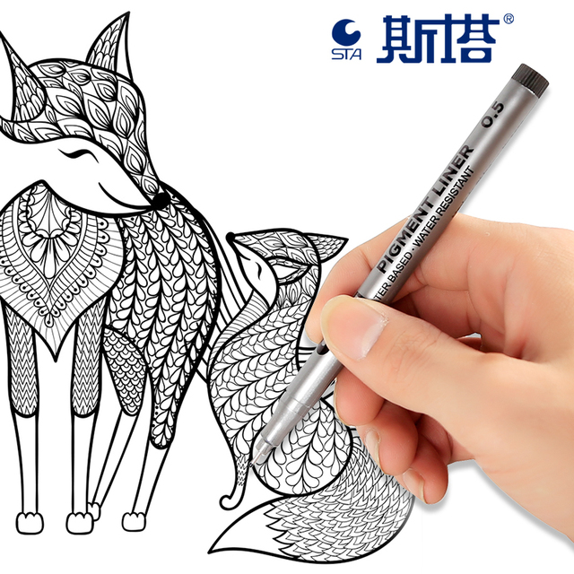 STA 9Pcs/Lot Black micron pen Hook Liner sketch markers Drawing Waterproof Art Supplies Manga Comic Handwriting Brush Pen 5