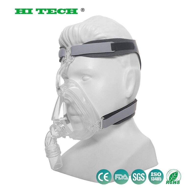 CPAP маска на все лицо Авто CPAP BiPAP маска силиконовый коврик с бесплатным головным убором Белый s m l для апноэ сна OSAS храп людей