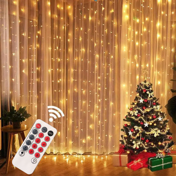 3M LED Fairy String Lights Curtain Garland USB Festoon Remote Christmas Decoration for Home New Year Lamp Holiday Decorative 1