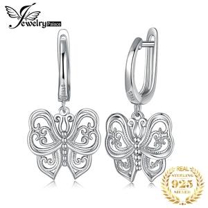 Image 1 - JPalace Vintage Butterfly CZ Dangle Drop Earrings 925 Sterling Silver Earrings For Women Korean Earings Fashion Jewelry 2020