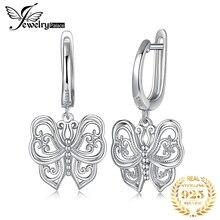 JPalace Vintage mariposa CZ pendientes colgantes de gota 925 pendientes de plata de ley para mujeres pendientes coreanos joyería de moda 2020