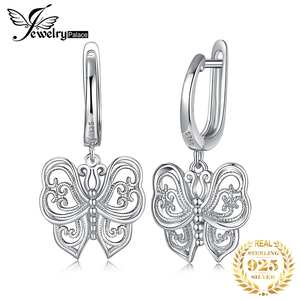 Image 1 - Jpalace ヴィンテージ蝶 cz ブラブラドロップイヤリング 925 純銀製のイヤリング韓国イヤリングファッションジュエリー 2020