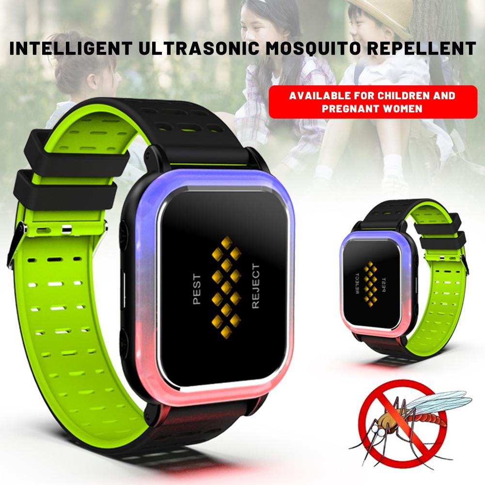 Intelligent Mosquito Repellent Bracelet Ultrasonic Pest Repeller Wrist Mosquito Wristband Smart Insect Watch Horticulture