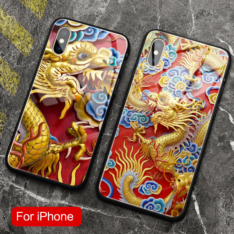 Estilo chinês Dragon Coque vidro temperado macio tampa da caixa do telefone móvel para apple iphone se 6 6 s 7 8 plus x xr xs 11 pro max