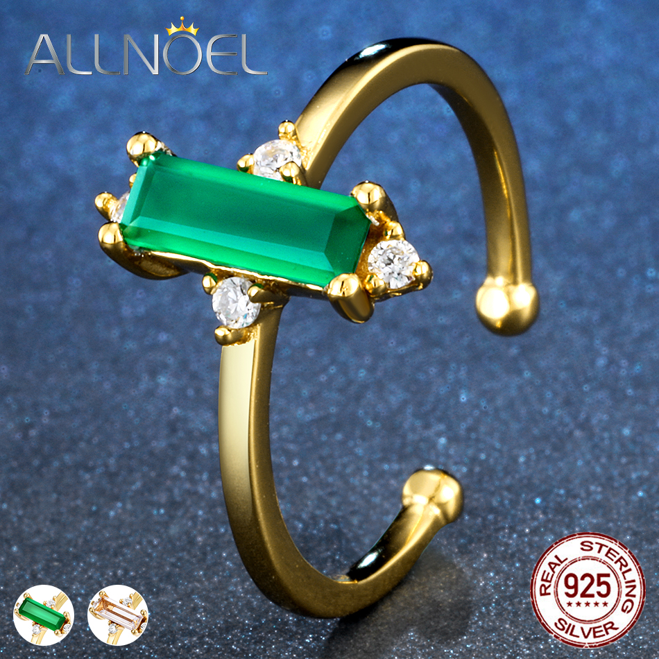 ALLNOEL Minimalist  Womens Gemstone Ring  925 Sterling Silver Green Agate Rose Quartz  Jewelry Yellow Gold Color Open Design-in Rings from Jewelry & Accessories