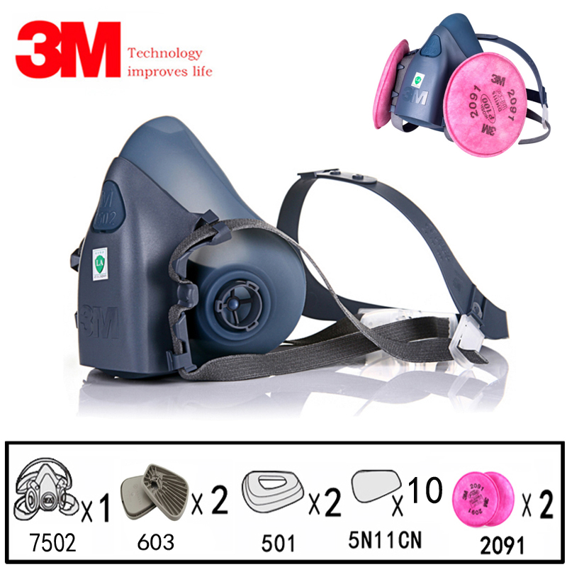 3M 7502 Gas Mask 17in1set Spray Paint Chemical Dustproof Respirator With 603/5N11 Particle Filter Work Half Mask