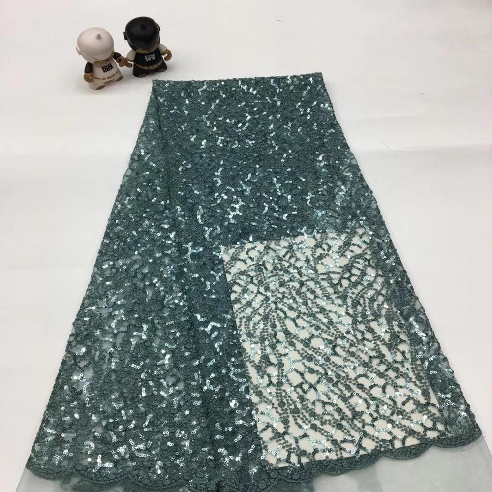 Sequins Lace Fabric Nigerian French Lace Fabric Embroidered African Lace Fabric High Quality Sequins Mesh Lace TS9087