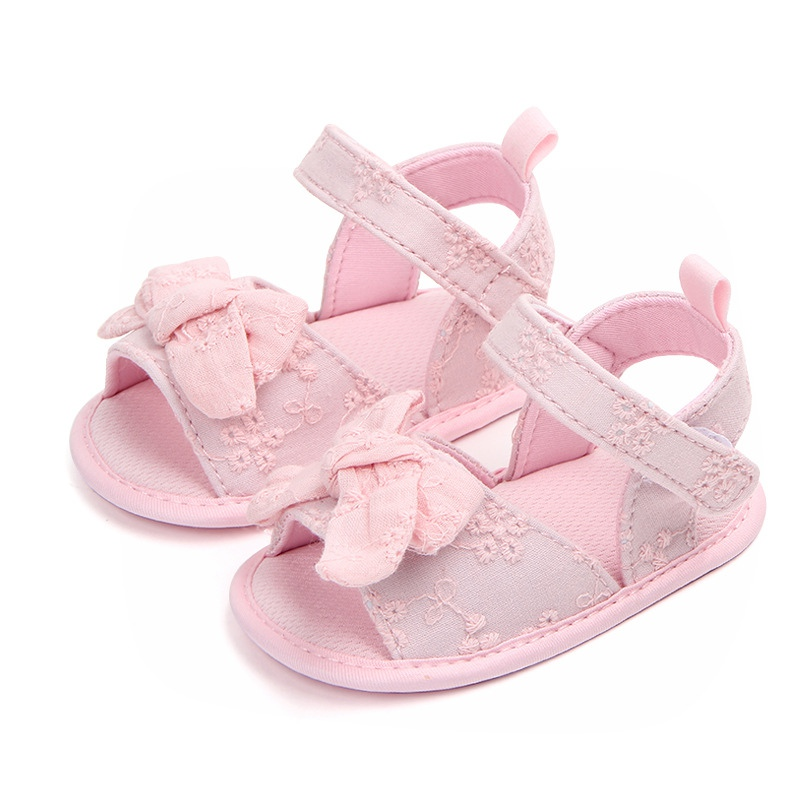 New Princess Shoes For Girls Cute Bow Tie Baby Girls Shoes Summer Cotton Newborn Girl First Walkers