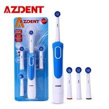 Зубная щетка AZDENT электрическая с 4 сменными насадками, щетка Зубная вращающаяся, питание от батарейки AA, Глубокая чистка, не перезаряжается
