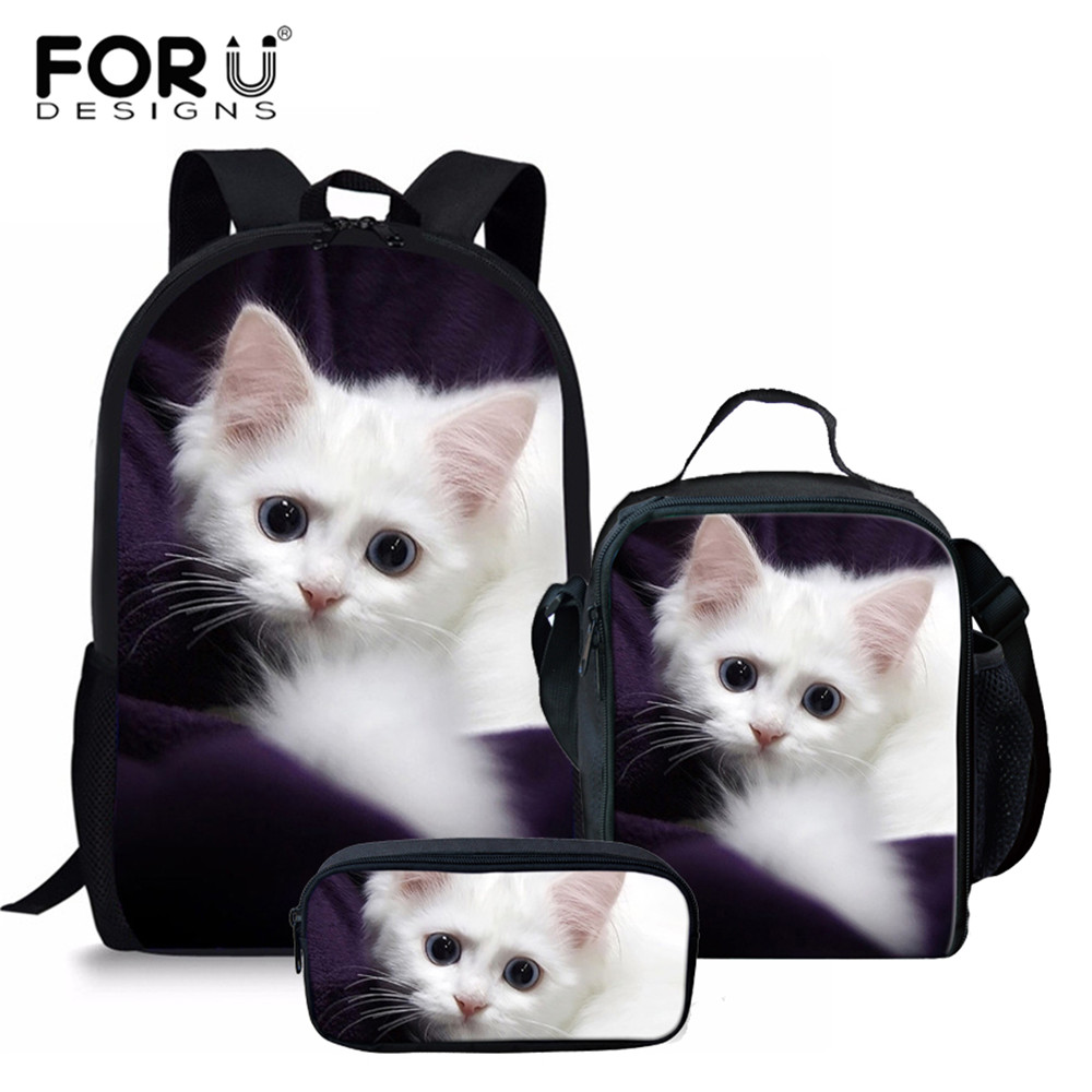 FORUDESIGNS 3pcs/set Adorable Kitten Cat School Bags For Girls Orthopedic Backpack Schoolbag In Primary Students Kids Book Bag