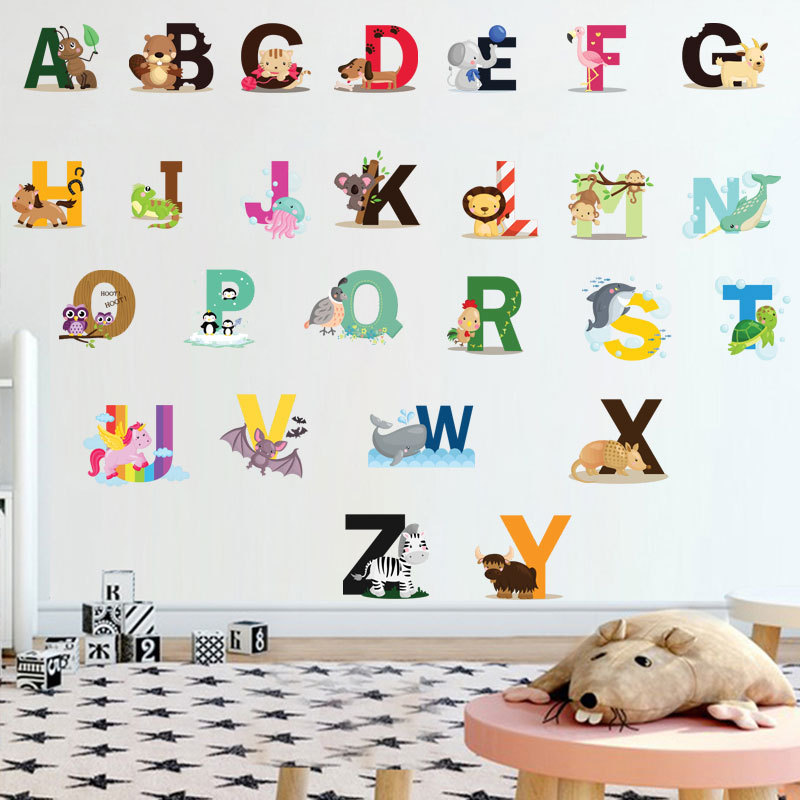 26 Letters Alphabet Animals Wall Stickers Kids Wall Decal Mural Rooms Home Decor