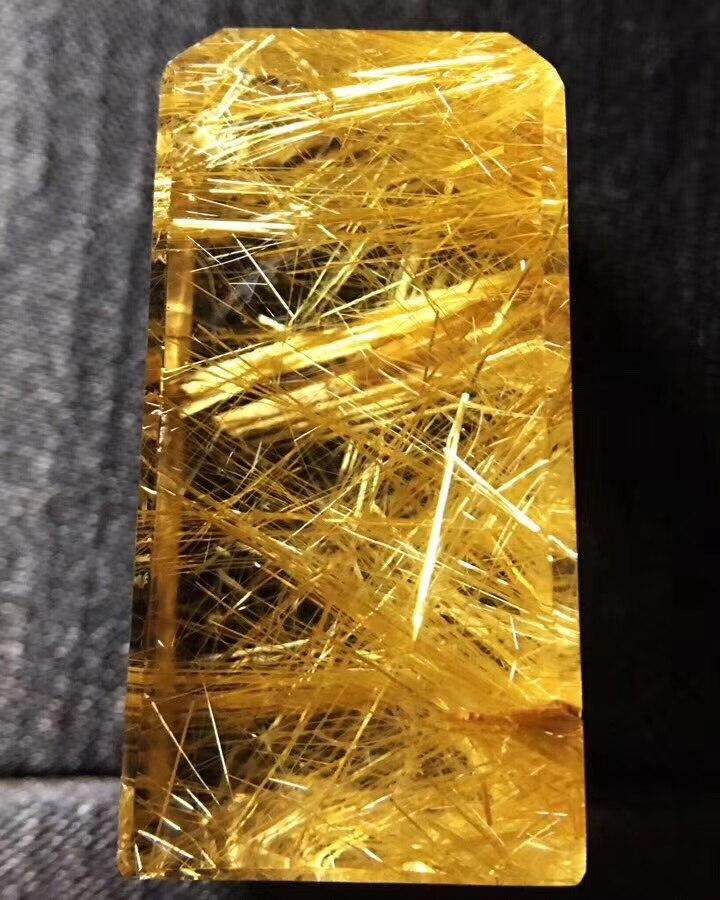 From Brazil Natural Gold Rutilated Quartz Pendant Women Men 36x19x7mm Reiki Stone Wealthy Crystal Rectangle Certificate AAAAA
