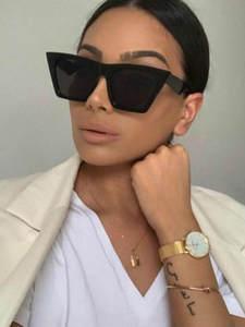 Sunglasses Square Curtain Cat Eyes Trend Personalized New-Brand Versatile Uv400