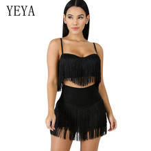 YEYA Tassels Two Piece Set Women Spaghetti Strap Backless Crop Top High Waist Black Shorts Rompers Sexy 2 Outfits Overalls