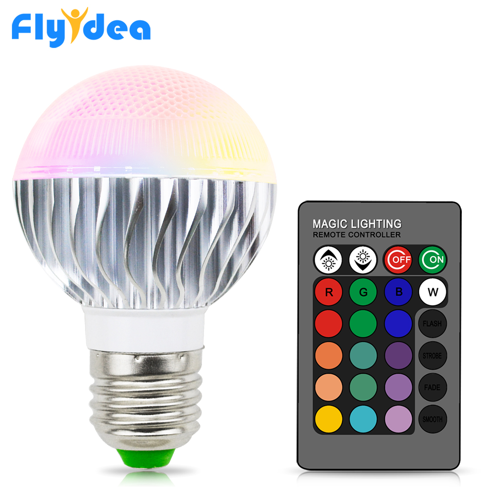 E27 16 Color Changing Magic Home Light Bulb 110V 220V Holiday Dimmable Stage Indoor Light Lamp + 24key Smart IR Remote Control