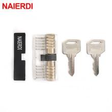 NAIERDI Visible Practice Padlock Copper Lock Pick Tools Transparent Locksmith Locks Cutaway Training Skill Professional