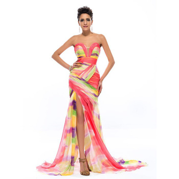 DressV Colorful Print Mermaid Long Evening Dress 2019 Chiffon Sweetheart Ruched Sexy Split Front Formal Dresses Party Prom Gowns