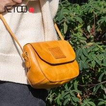 Aetoo design original bolsas de couro artesanal ocasional mensageiro saco sen série literária retro couro mini sela saco