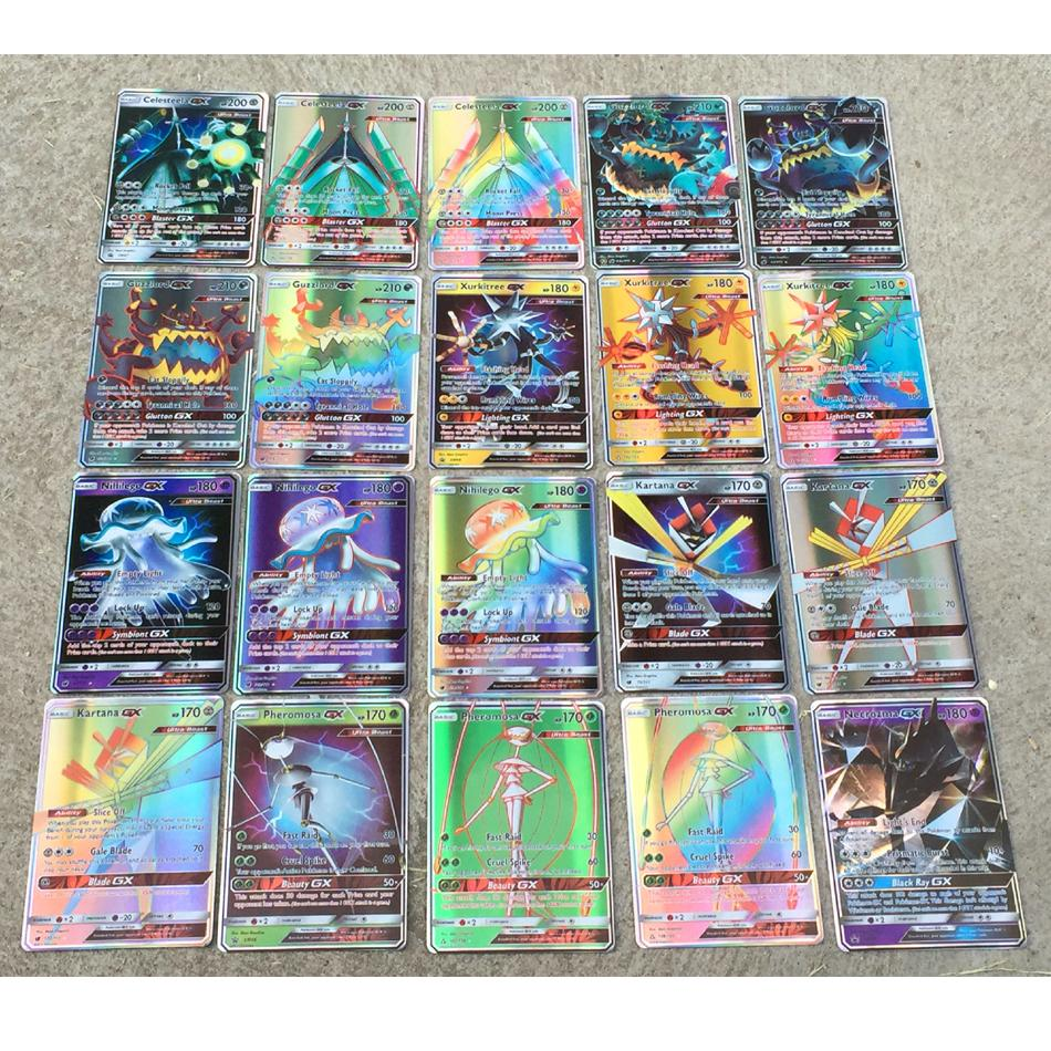 100 Pieces/200Pieces/Set Game Shiny Pokemon Cards English Flash Trading Gx Card No Repeat With Mega Cards Random Send
