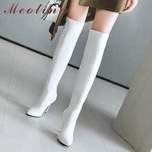 Meotina sur le genou bottes femme bout pointu Super haut talon cuissardes talon aiguille bottes longues dames chaussures blanc 33-46