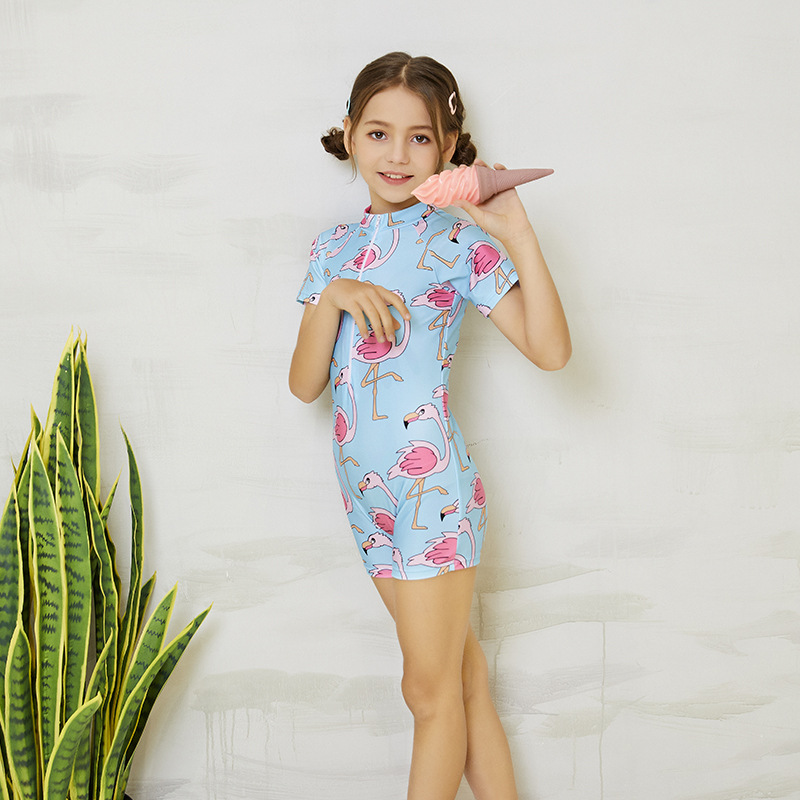 KID'S Swimwear GIRL'S One-piece Short Sleeve Sun-resistant Tour Bathing Suit Girls Big Boy Baby Conservative Boxer Sports Swimwe