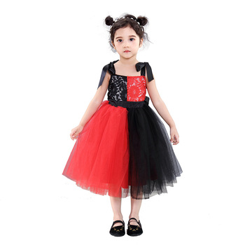 Girls mesh dresses Halloween red and black lace color matching dress childrens clothing children princess