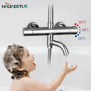 Thermostatic Shower Faucets Mixer Tap Hot And Cold Bathtub Faucet Bathroom Mixer Wall Mounted Mixer Brass Control Rain(China)