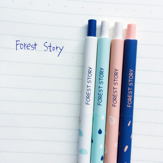 2X Cute Simple Forest Story 0.38mm Press Ballpoint Pen Long Handle Ball Pen Writing Stationery 3