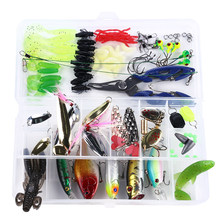 110pcs Fishing Lures Kit Assorted Artificial Spinner Minnow Popper VIB Soft Hard Spoon Lure Bait Hooks Pliers with Tackle Box(China)