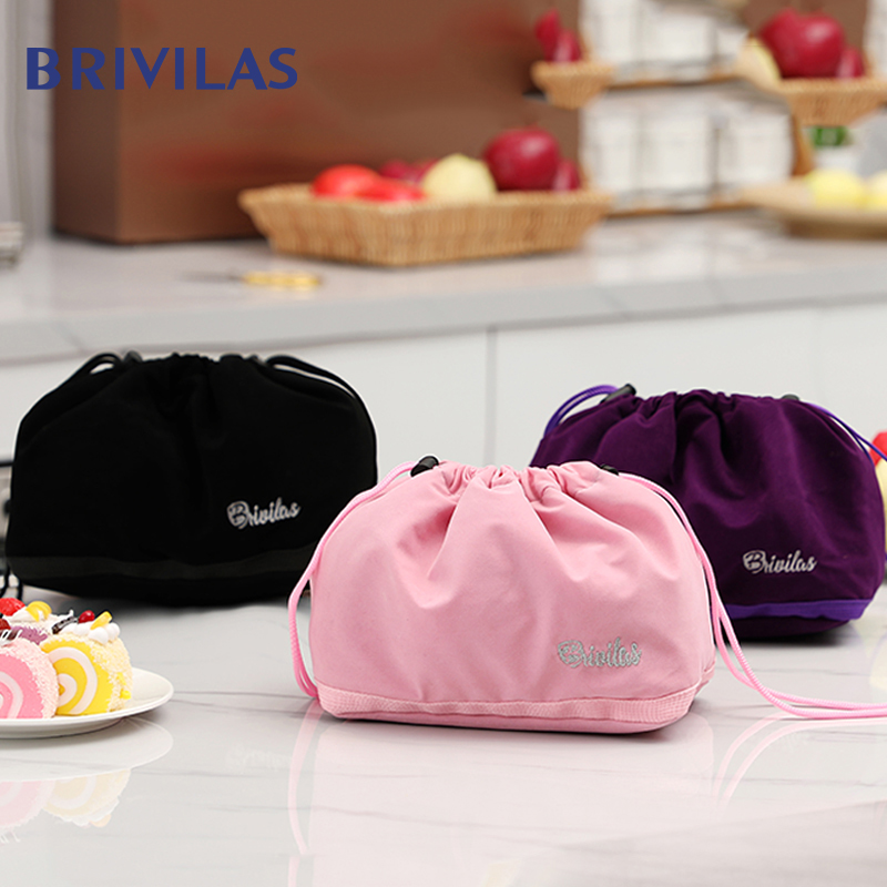 Brivilas  Lunch Bag Drawstring High Capacity Food Cooler Bags Women Cation Thicken Thermal Breakfast Box Portable Picnic Travel