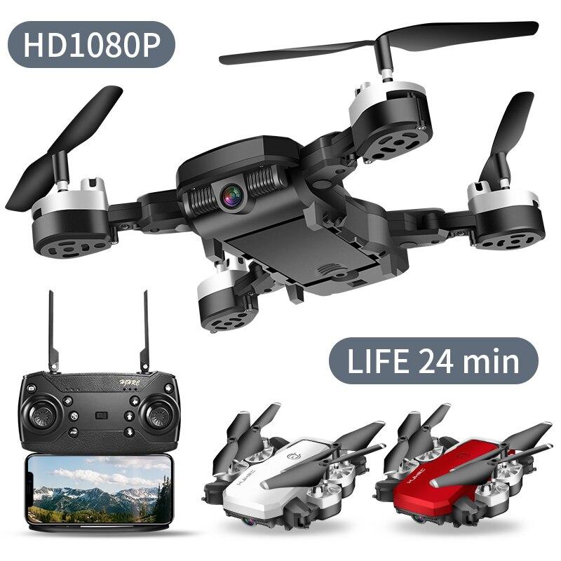 Mini drone avec longue durée de vol 24 minutes 1080P drones avec caméra hd rc hélicoptère jouets professionnel FPV grand pli geste