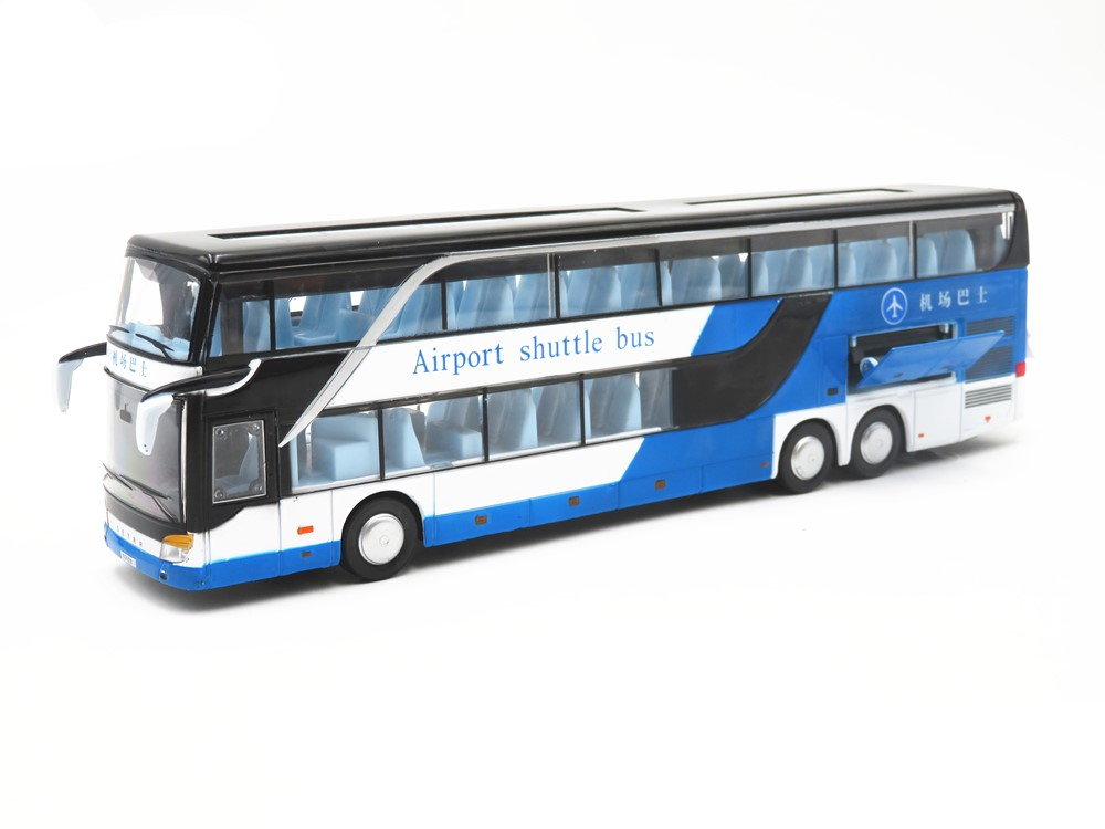 Hot Gift 1:50 Travel Bus Alloy Model,simulation Double-decker Bus Model,children's Sound And Light Pull Back Toys,free Shippi