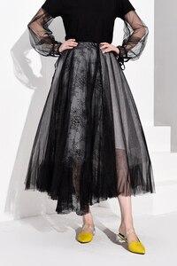 Image 2 - [EAM] High Waist Black Multilayer Mesh Split Joint Temperament Half body Skirt Women Fashion Tide New Spring Autumn 2020 JT1360
