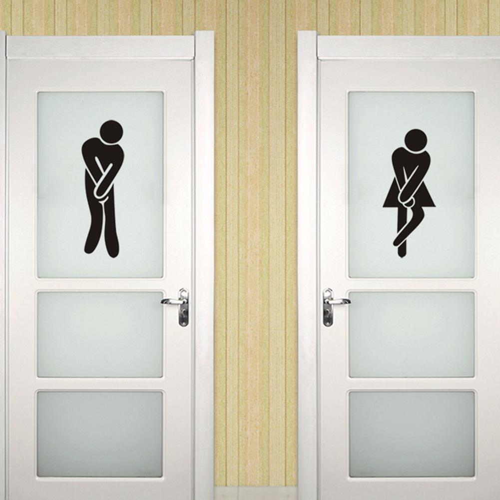 Waterproof Toilet Sign Wall Sticker Art Mural for Toilet Bathroom Door Decoration