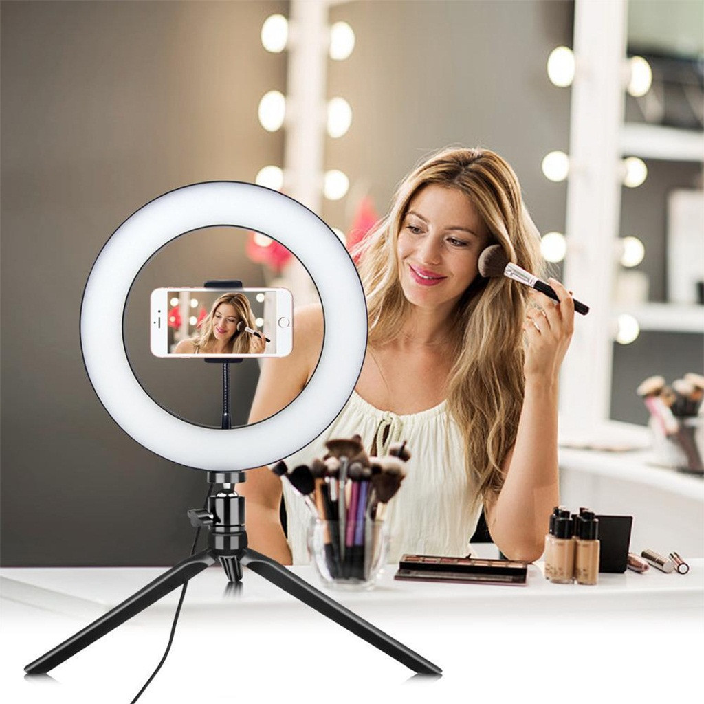 LED Ring Fill-Light Lamp Selfie Camera Phone Studio Tripod Stand Video Dimmable With Phone Holder Led Photo Video Photography