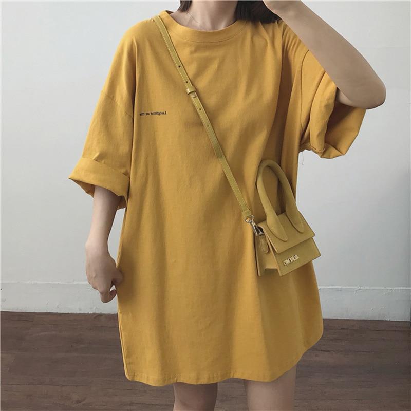 Summer Letter T-Shirt Women Casual Short Sleeve Loose Bottoming O-Neck Streetwear Tops Harajuku Ladies Mid-Length Tshirt 2020