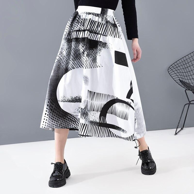 [EAM] High Elastic Waist Drawstring Pattern Printed Temperament Half-body Skirt Women Fashion Tide New Spring Summer 2020 1T823