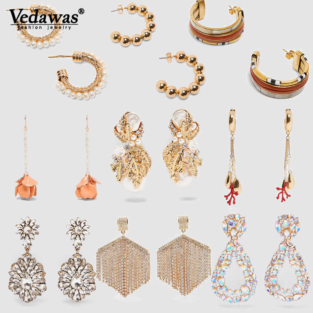 Vedawas Maxi ZA Earrings Sparkling Crystal Tassel Long Drop Dangle Earrings for Women Pearls Jewelry Accessory Wholesale xg3339