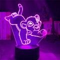 Мультфильм ночник Король Лев Simba светодиодный 3d свет изменение цвета Новинка лампа прикроватная лампа для спальни Рождественский подарок д...