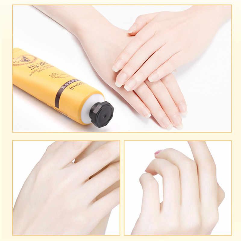 Crema de Manos reparadora de aceite de caballo a la moda antiedad blanqueamiento refrescante crema humectante para manos no grasienta adecuada