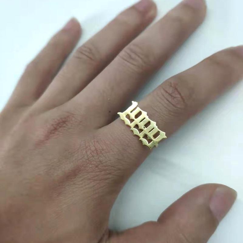 Liczba pierścieni dla kobiet niestandardowe złote pierścienie mężczyźni Anillo Hombre Old English czcionka rok 1993 1994 1995 1996 1997 1998 1999 biżuteria pierścienia
