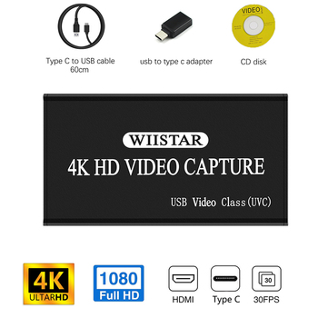Wiistar USB Video Capture HDMI to USB Type C 1080P HD Video USB Capture Card Revoder for PS4 Game Live Stream Windows Linux Os